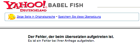 Yahoo: Babelfish-Blurp